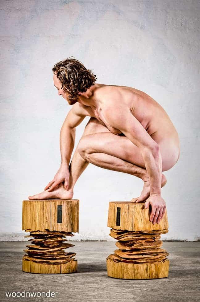 sculptural log stool made of wood